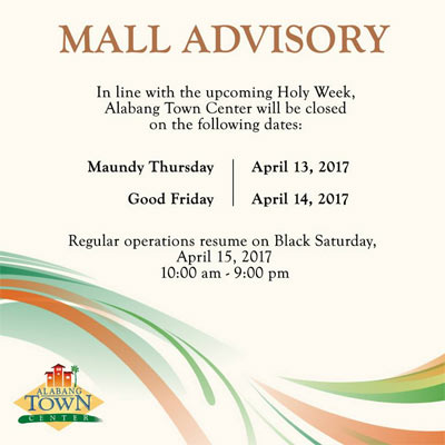 Holy Week Mall Hours